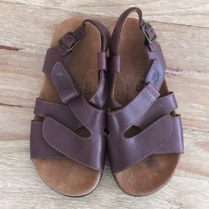 SAS Huggy Brown Leather Sandals Tripad Sling Ankle
